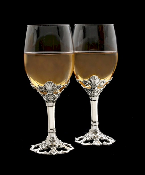 Fleur De Lis Set of 2 Wine Glass